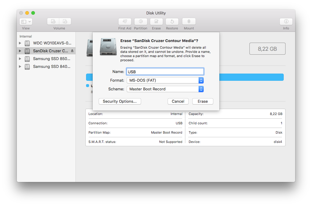 Screenshot of the ?Disk Utility? app showing the necessary parameters to erase a USB drive and make it bootable