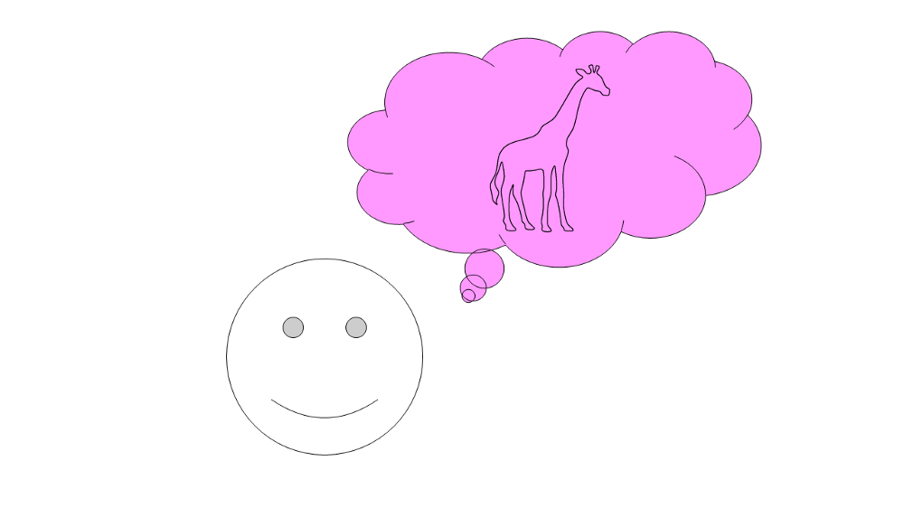 Image of a happy face thinking of a pink giraffe